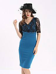 Maxlindy Women's Going out Casual/Daily Work Vintage Bodycon Lace Dress