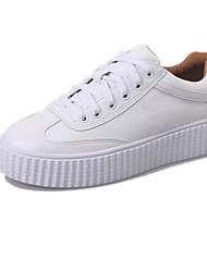Women's Sneakers Spring Summer Fall Comfort PU Office & Career Athletic Casual Flat Heel Lace-up Yellow White Walking