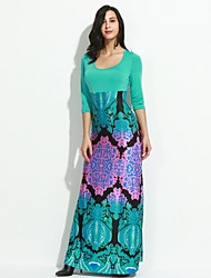 Women's Sexy Casual Print Maxi Inelastic Long Sleeve Maxi Dress (Cotton)