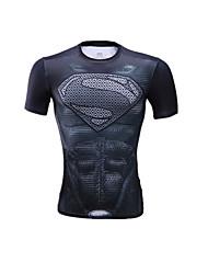 Unisex Short Sleeve Running T-shirt Tops Breathable Comfortable Summer Sports Wear Running LYCRA® Slim Black Solid