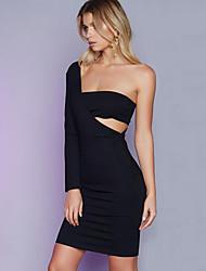 Women's Sexy Solid One Shoulder Zipper Middle Dress Backless Sheath Dress