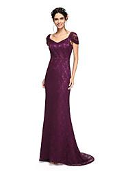 2017 Lanting Bride® Sweep / Brush Train Lace Elegant Bridesmaid Dress - Sheath / Column V-neck with Pleats
