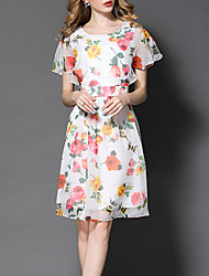 Women's Going out Casual/Daily Holiday Vintage Chinoiserie Sophisticated Sheath Swing Dress,Floral Patchwork Layered Ruffle Round Neck