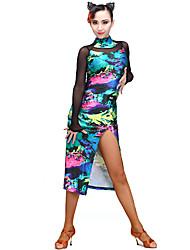 Latin Dance Dresses Women's Training Spandex Velvet Pattern/Print 1 Piece Long Sleeve Dress