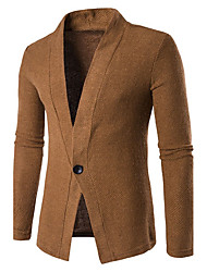 Men's Casual/Daily Simple Regular Cardigan,Solid Black Gray Shirt Collar Long Sleeve Cotton Spring Medium Micro-elastic