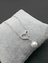 Pendant Necklaces Imitation Pearl Pearl Sterling Silver Round Basic Fashion Simple Style Silver Jewelry Daily Casual 1pc