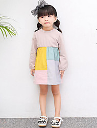 Girl's Solid Patchwork Dress,Cotton Spring Long Sleeve