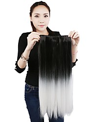 1Pieces 110g 20'' Clip in on Synthetic Hair Extensions Black Mixed White Straight Hair Weft Pieces