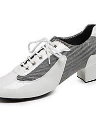 Customizable Men's Dance Shoes Lace-upTap/Modern/Salsa/Tango/Latin / Jazz / Dance Sneakers Chunky Heel Leather Comfortable Ballroom shoes (Fur bottom)