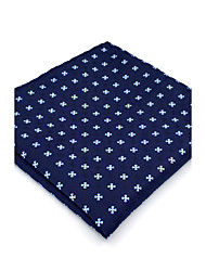 BH16 Men's Pocket Square Navy Blue Dots 100% Silk Business Casual Jacquard Woven For Men
