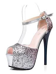 Feminino-Saltos-Light Up Shoes-Salto Agulha-Roxo Vermelho Azul-Couro Ecológico-Casamento Escritório & Trabalho Social Casual Festas &