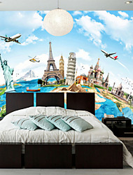 Art Deco Wallpaper For Home Wall Covering Canvas Adhesive required Mural Earth World Famous Buildings XXXL(448*280cm)XXL(416*254cm)XL(312*219cm)
