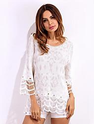 Women's Lace Beach Boho Summer T-shirt,Jacquard Deep V Long Sleeve White Polyester Translucent