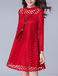 Women's Plus Size Going out Simple A Line Dress,Solid Lace Round Neck Above Knee Long Sleeve Polyester Red Black Spring Summer Mid Rise