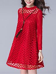 Trapèze Robe Femme Sortie Grandes Tailles simple,Couleur Pleine Col Arrondi Au dessus du genou Manches Longues Rouge Noir Polyester