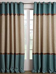 Deux Panneaux Le traitement de fenêtre Méditerranéen , Solide Salle de séjour Polyester Matériel Rideaux Tentures Décoration d'intérieur