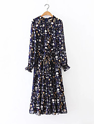 Women's Going out Casual/Daily Holiday Vintage Chinoiserie Sheath Chiffon Dress,Floral Bow Ruffle Pleated Round Neck Maxi Long Sleeve