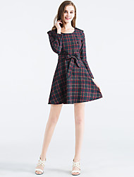 Women's Going out Vintage A Line Dress,Solid Shirt Collar Above Knee Long Sleeve Gray Linen Fall Mid Rise Inelastic Medium