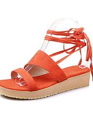 Damen-Sandalen-Kleid Lässig Party & Festivität-Vlies-Keilabsatz-Andere-Schwarz Grün Mandelfarben Orange