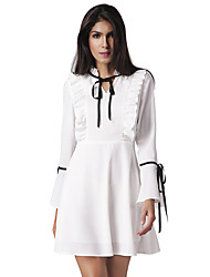 Women's Casual/Daily Holiday Simple Street chic A Line DressSolid V Neck Above Knee Long Sleeve Flare Sleeve Nylon White Dress