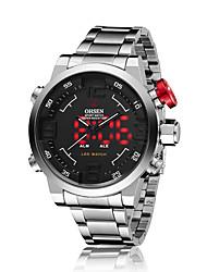OHSEN Men's Fashion Tide Luminous LED Double Movement Double Three Stitches Quartz Watch