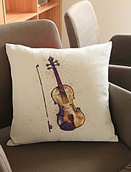 1 pcs violin printing Linen Pillow CaseNovelty Modern/Contemporary