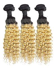 "3pcs/lot 50g/Piece 12""-26"" Raw Brazilian Virgin Hair Deep Wave Two Tone Color 1b/27 Curl Hair Weaves"