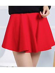 Women's A Line Solid Skirts,Casual/Daily Low Rise Midi Drawstring Elasticity Nylon Micro-elastic Spring Summer