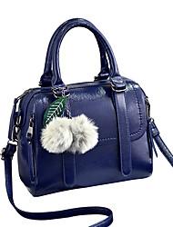 M.Plus Women's Fashion Fur Splicing PU Leather Messenger Shoulder Bag/Handbag Tote