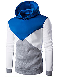 Men's Petite Casual/Daily Simple Hoodie Color Block Patchwork Round Neck Fleece Lining Micro-elastic Cotton Long Sleeve Spring