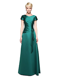 2017 Lanting Bride® Floor-length Satin Elegant Bridesmaid Dress - A-line V-neck with Flower(s) Pleats
