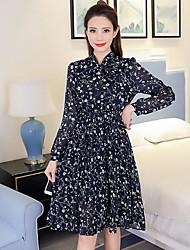 Feminino balanço Vestido, Para Noite Simples Estampado Colarinho Chinês Altura dos Joelhos Manga Longa Azul Branco Amarelo Poliéster