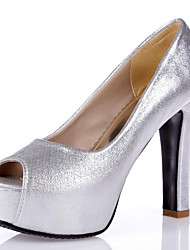 Women's Heels Spring Summer Fall Club Shoes Synthetic Wedding Party & Evening Dress Chunky Heel Sequin Blue Silver Gold Rose Pink