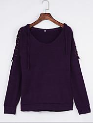 T-shirt Da donna Per uscire / Casual Semplice / Moda città Primavera / Autunno,Tinta unita Rotonda Poliestere Rosso / Viola Manica lunga