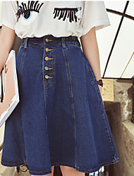 Women's A Line Solid Denim Skirts,Going out Casual/Daily Work Sexy Cute Street chic Mid Rise Knee-length Elasticity Others Inelastic
