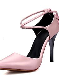 Feminino-Saltos-Tira no Tornozelo Sapatos clube-Salto Agulha-Rosa Branco Cinzento ecuro-Courino-Social Casual Festas & Noite