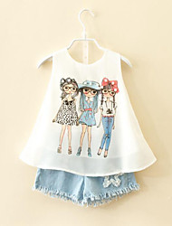 Girl Casual/Daily Print Sets,Rayon Polyester Summer Sleeveless Clothing Set