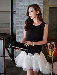 Feminino Bainha Preto e Branco Rodado Vestido, Para Noite Casual Férias Fofo Moda de Rua Sofisticado Estampa Colorida RetalhosDecote