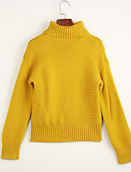 Women's Casual/Daily Simple Long Pullover,Solid Pink Gray Yellow Turtleneck Long Sleeve Cotton Fall Medium Micro-elastic