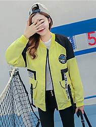 Women's Casual/Daily Simple Spring Jackets,Solid Stand Long Sleeve Pink / Yellow / Purple Cotton Medium