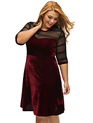 Women's Casual/Daily Formal Simple Loose Dress,Solid Round Neck Mini Above Knee ½ Length Sleeve Polyester Blue Red Black All SeasonsLow