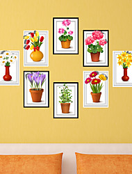Flower  Photo Frame Drawing  PVC  Decorative Skin Wall Stickers for The Office Or Living Room