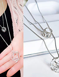 Women's Pendant Necklaces Zircon Cubic Zirconia Rhinestone Alloy Geometric Geometric Fashion Silver Jewelry Casual 1pc