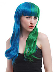 Sia Wig Long Natural Wavy Half Blue Half Green Synthetic Wigs Heat Resistant Cosplay Party Wig