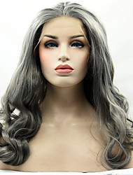 Grey Color Synthetic Lace Front Wig Loose Wave Hair Heat Resistant Synthetic Fiber Hair Wigs