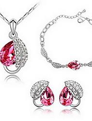 Schmuck 1 Halskette 1 Paar Ohrringe 1 Armreif Kristall Party Aleación 1 Set Damen Rot Blau Hochzeitsgeschenke