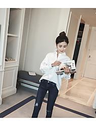 neue koreanische Version von Puff losen weißen Nähten Spitze mit langen Ärmeln T-Shirt Shirt Frauen&# 39; s Spot
