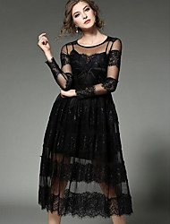 Women's Party/Cocktail Sexy Lace Dress,Solid Round Neck Midi Long Sleeve Rayon Black Spring High Rise Micro-elastic