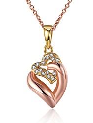 Feminino Colares com Pendentes Zircônia cúbica Formato de Coração Zircão Rosa Folheado a Ouro LigaOriginal Pingente Amor Moda Estilo