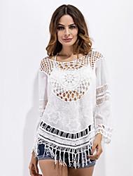 Tee-shirt Femme,Couleur Pleine Décontracté / Quotidien Chic de Rue Eté Sans Manches Col Arrondi Blanc Coton Moyen